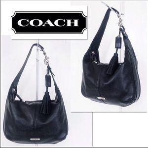 Coach Avery black pebble leather hobo bag